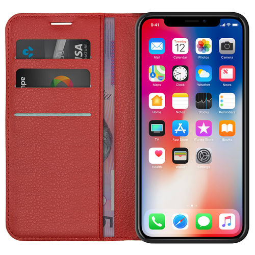 Red Leather Wallet Case & Card Holder Stand - Apple iPhone X / Xs